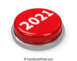 Red 2021 button isolated on white background, three-dimensional rendering, 3D illustration