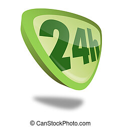 Button 24h - green 24h button with perspective