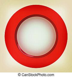 Button. 3D illustration. Vintage style.