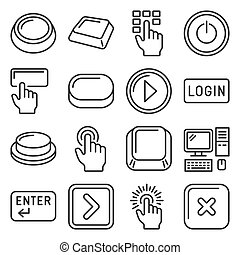 Button and Key Icons Set on White Background. Line Style Vector