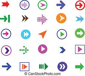 button arrow sign icon set