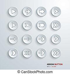 button arrow sign icon set. on clic