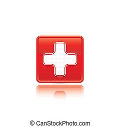 button., bistånd, första, medicinsk