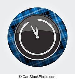 button, blue, black tartan - last minute clock