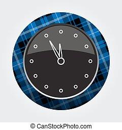 button blue, black tartan - last minute clock icon