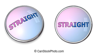 Button Blue-Pink Word Straight