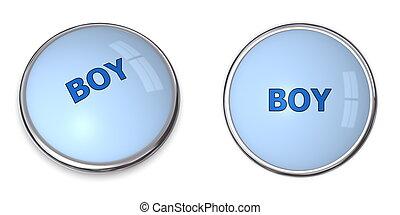 Button Blue Word Boy