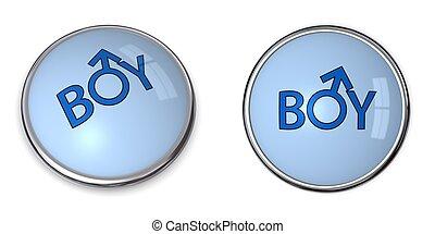 Button Blue Word Boy/Male Gender Symbol