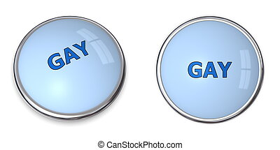 Button Blue Word Gay