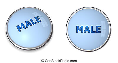 Button Blue Word Male
