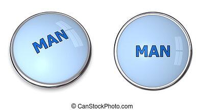 Button Blue Word Man