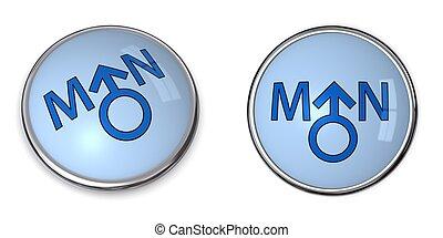 Button Blue Word Man/Male Gender Symbol