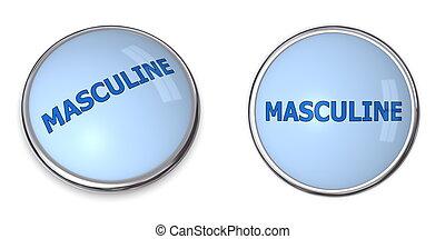 Button Blue Word Masculine