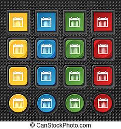 button., buttons., ensemble, jours, mois, vecteur, icon., date, colur, signe, calendrier, symbole.