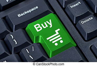 Button buy computer keyboard with trolley icon.