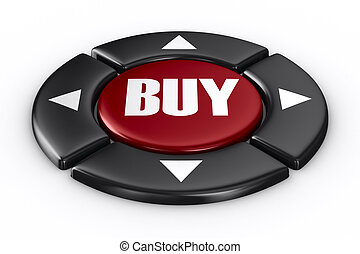 button buy on white background. Isolated 3D image