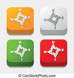 button:, carrée, compas