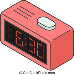 Button clock icon, isometric style