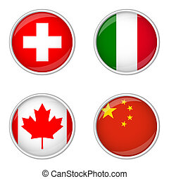 Button collection - Switzerland, Italy, Canada, China