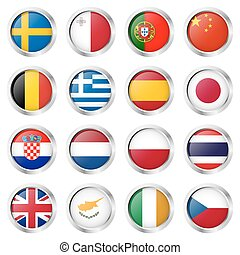 button collection with country flags