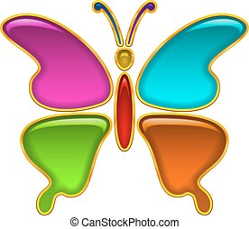 Button, Colorful Butterfly - Colorful Glossy Button in Shape...