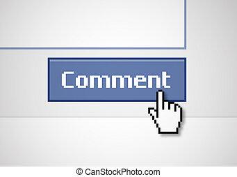 """Button Comment - Illustration of a blue """"comment"""" button,..."""