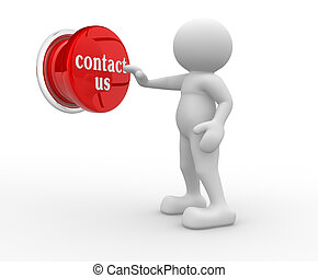 """Button """"contact-us"""" - 3d people- human character pressing a ..."""