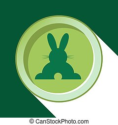 button-dark green back Easter bunny