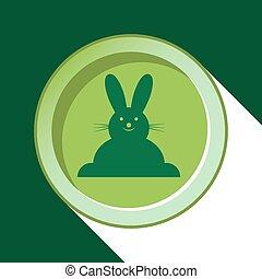 button - dark green Easter bunny