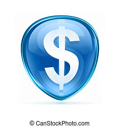 button dollar icon blue, isolated on white background