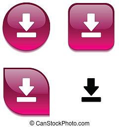 button., downloaden, glanzend
