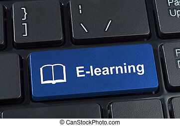 Button e-learning with icon book. Concept internet learning and education.