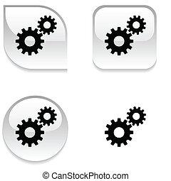 button., einstellungen, glänzend