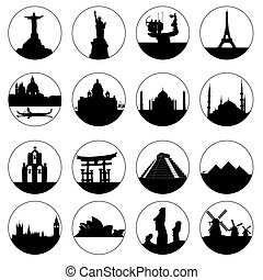 round buttons of famous places in the world on a white background