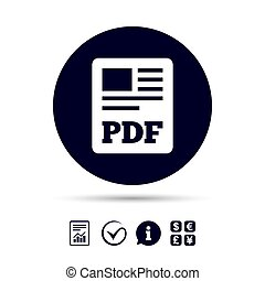 button., file, scaricare, pdf, icon., documento