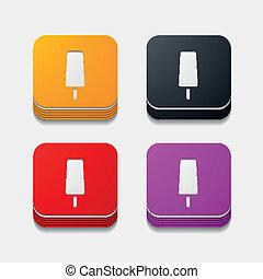 button:, fyrkant, is