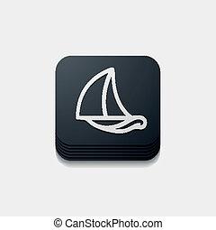 button:, fyrkant, segelbåt