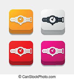 button:, fyrkant, ur