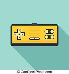 Button gamepad icon, flat style