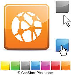 button., glanzend, netwerk