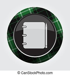 button green, black tartan - notepad and pencil