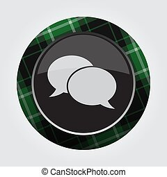 button green, black tartan - two speech bubbles