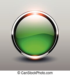 Button green glossy