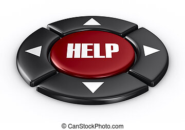 button help on white background. Isolated 3D image
