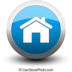 button home 2d blue - button home 2d on white background