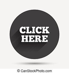 button., ici, signe, presse, icon., déclic