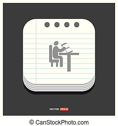 button icon Gray icon on Notepad Style template Vector EPS 10 Free Icon
