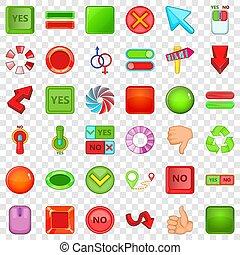 Button icons set, cartoon style
