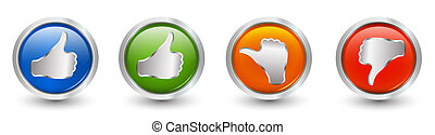 Button icons. Thumbs up green and blue - orange neutral...