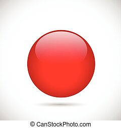 Illustration of a colorful red button isolated on a white background.